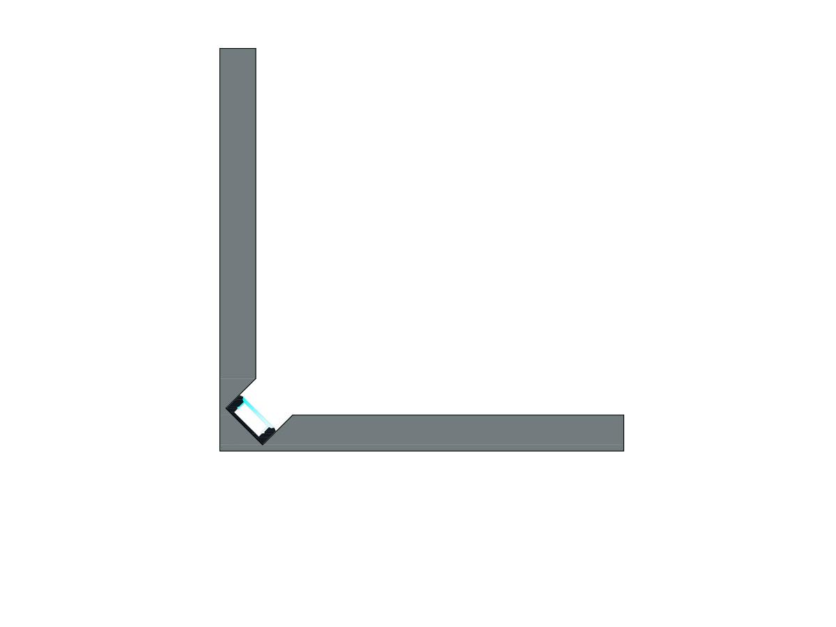 Profilo Led Luce diretta in angolo-sezione