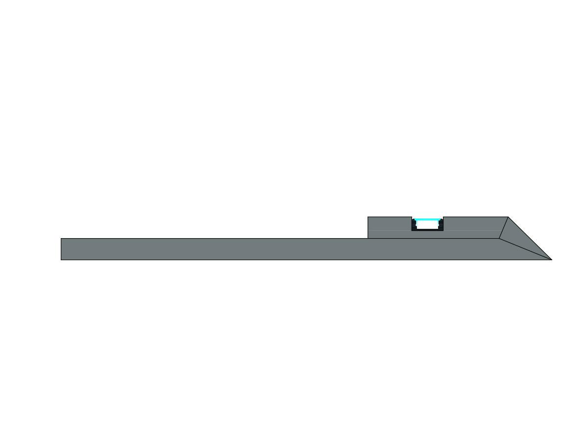 Profilo Led sotto veletta luce indiretta-sezione