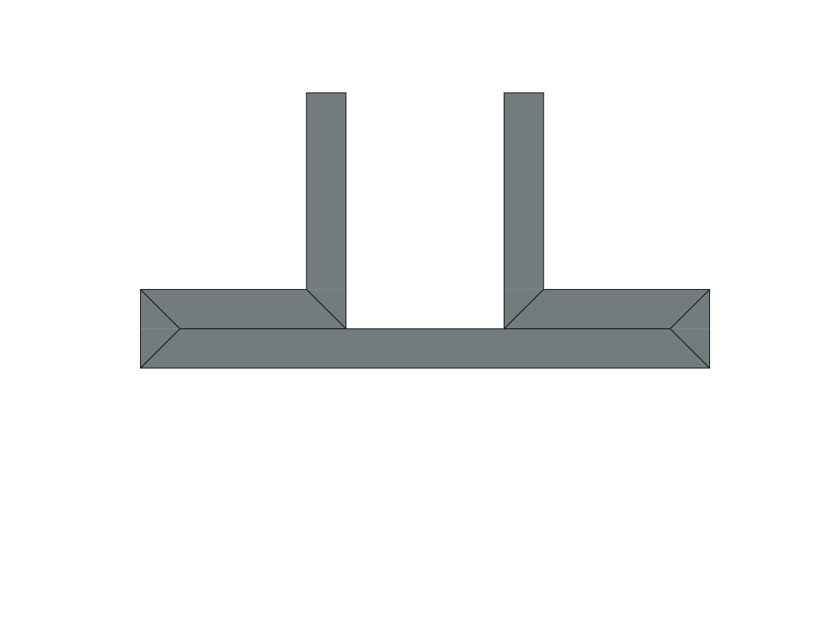 Profilo led trave 2 fonti-sezione