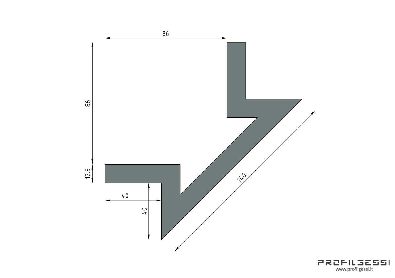 Profilo led angolo sezione inclinata-1327