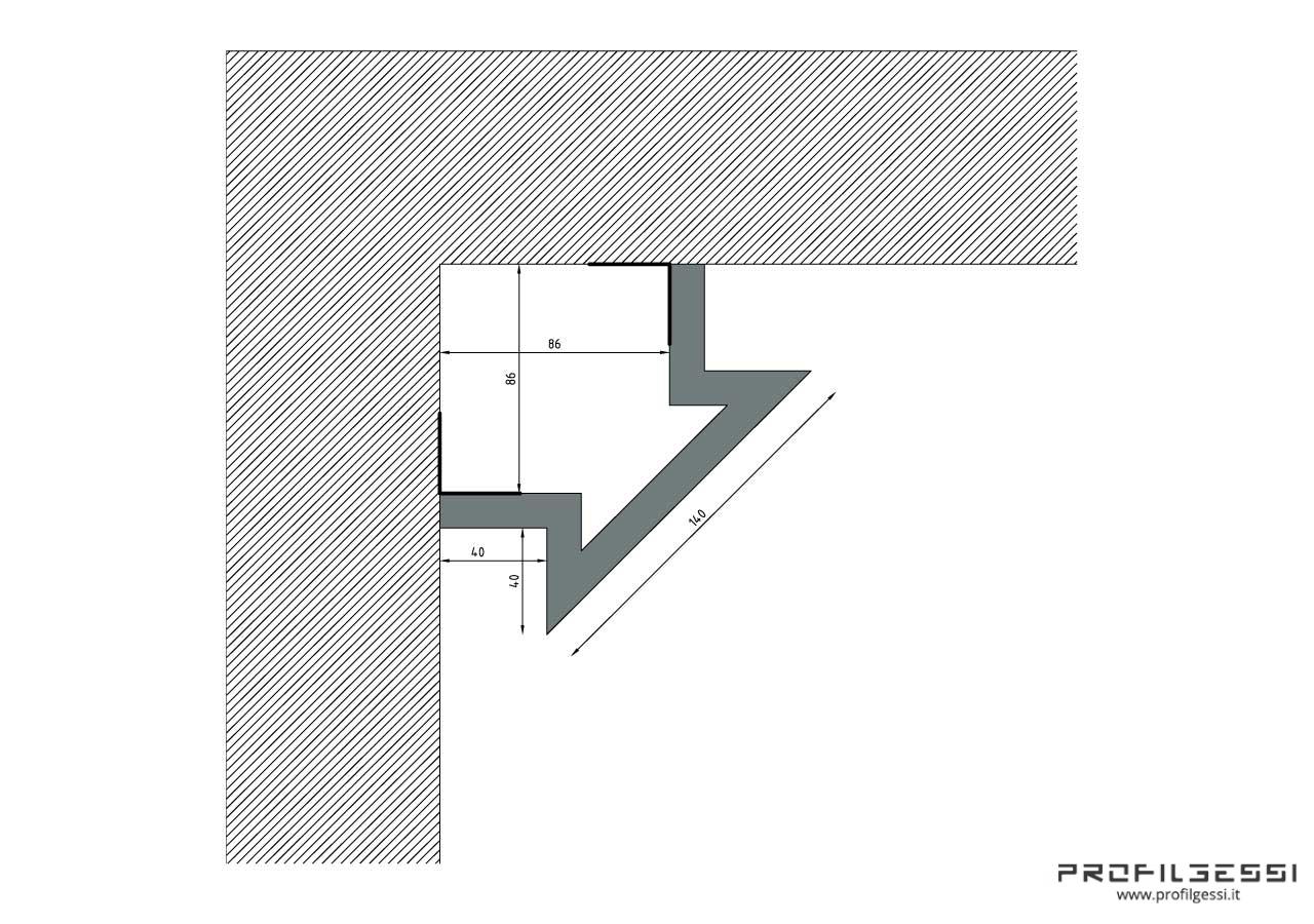 Profilo led angolo sezione inclinata-1323